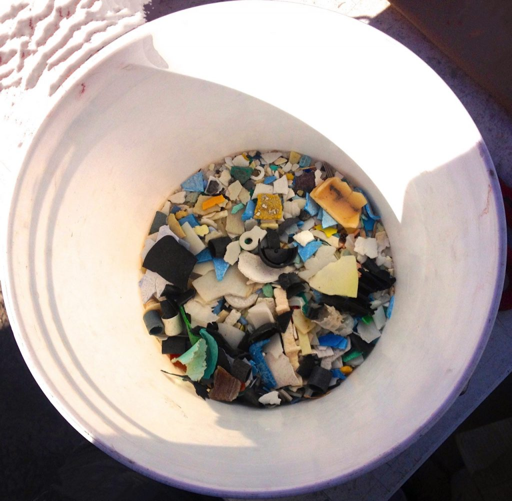 Ocean Plastic - prepared for recycling using solar plastic molding.